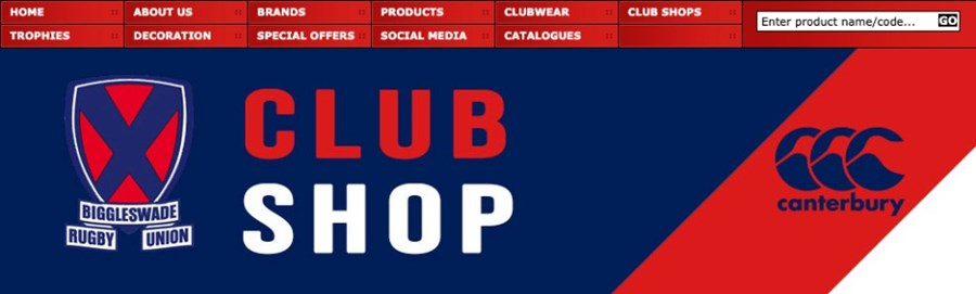 Screengrab from club shop banner heading
